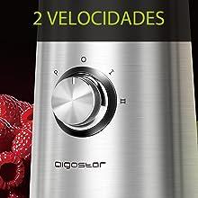 Aigostar Baron - Batidora de vaso, 2 en 1 batidora para smoothie, 350W. Jarra 1 litro, botella 600ml de Tritan, 2 controles de velocidad, tapón dosificador, función P y cuerpo de acero.