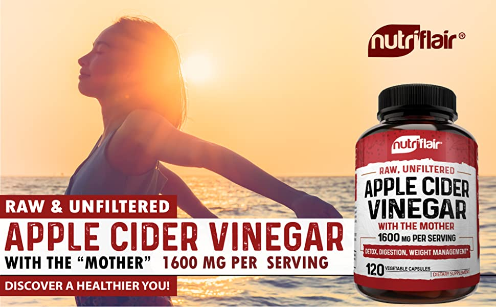 nutriflair apple cider vinegar capsules acv pills gummies the mother 1600mg 1000mg best quality