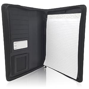 Faux Black Leather Portfolio Folder Executive Interview Organizer Zipper Binder Case Resume