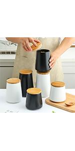 Black amp; White Food Storage Jar