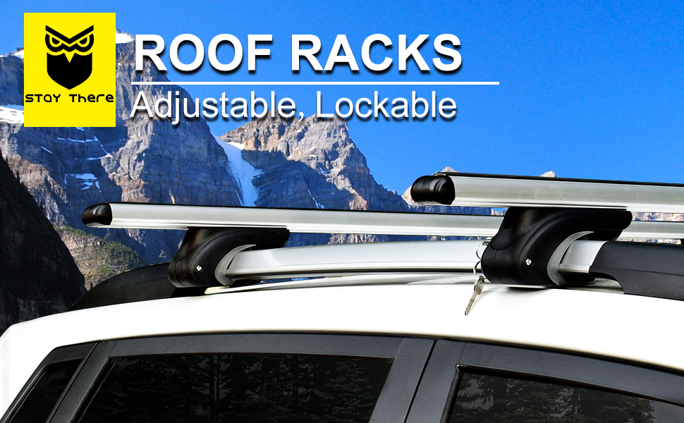 Amazon Com Roof Rack Crossbars By Staythere 54 Aero Aluminum Roof Rack Cross Bars Raised Side Rail Gap Needed Mounts To The Rooftop Of Your Car Or Suv Automotive