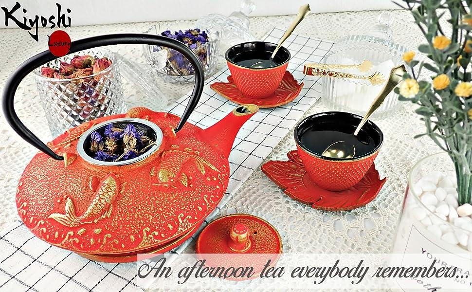 japanese iron tea set great design cast teapot kiyoshi luxury