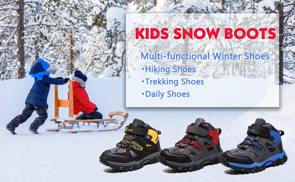 Waterproof Kids Snow Boots Non-slip Ice Cleats Boys Outdoor Shoes Warm Sneakers
