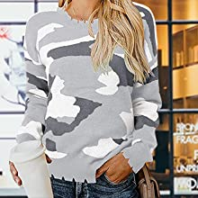 Women Winter Camouflage Printed Knitted Sweater Long Sleeves Loose Lightweight Pullover Top Jumper
