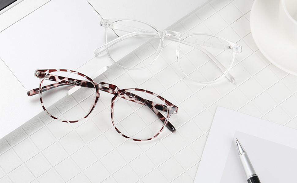 leopard and clear glasses