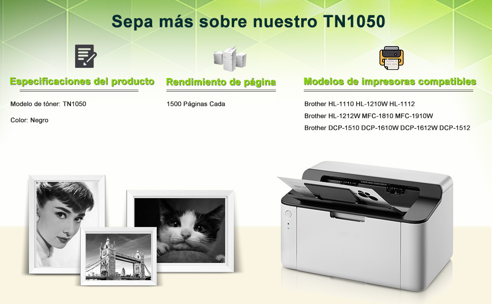 STAROVER 1x TN1050 TN-1050 Cartucho De Tóner Negro Compatible Para ...