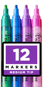 Glass, Wood, Fabric, Canvas. 12 Permanent Acrylic Paint Markers, Medium point tip …