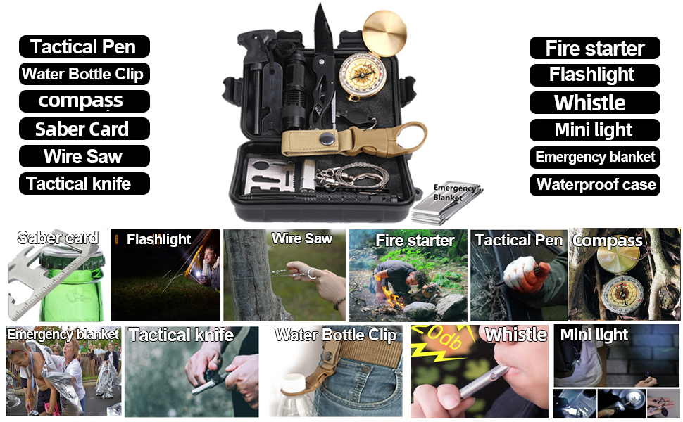 Hiking Climbing Fishing RUIJIA Survival Kit 12 in 1 Survival Gear Wise Outdoor Emergency Tactical Defense Equipment Tools Pefect Gifts for Men Women Boy Girl Teen Emergency Gear for Camping