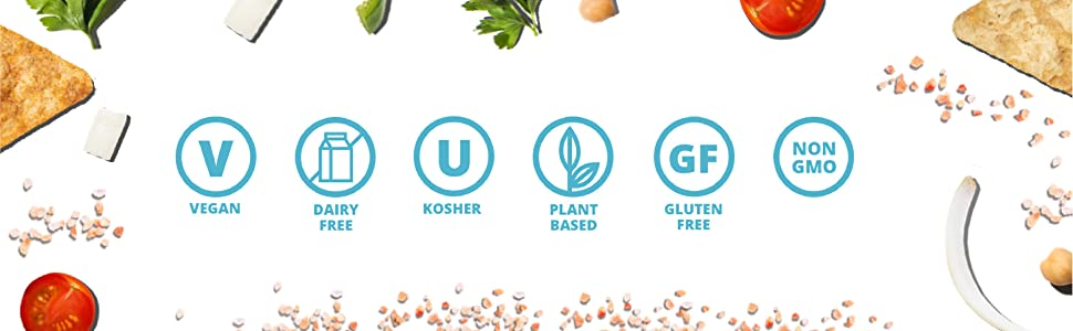 icons section - plant-based protein, vegan-friendly, dairy-free, kosher, non-GMO, and gluten-free