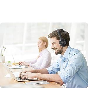 work headphones pc headphones noise cancelling headphones with microphone wireless computer headset
