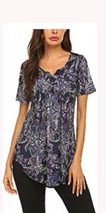 short sleeve tops paisley printed summer tops tunic blouses for leggings