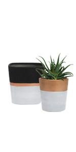 ceramic flower pots with black, gold, grey detailing