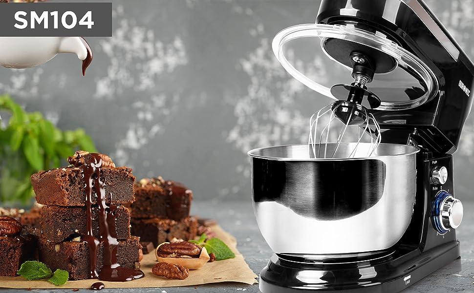 sm104, stand, mixer, countertop, compact, baking, cooking, food, preparation, mixing, black, silver