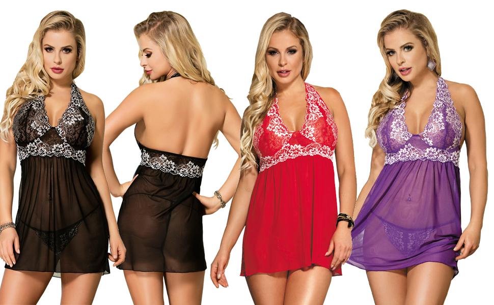 marysgift Plus Size Lingerie Womens Pyjama Sets Babydoll Nightwear Short Sleeve Nighties Loungewear Sets Tops and Panty M-XXXXXL