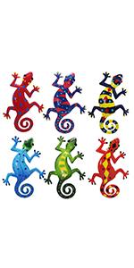 Juegoal 6 Pack Metal Gecko Wall Art Decor