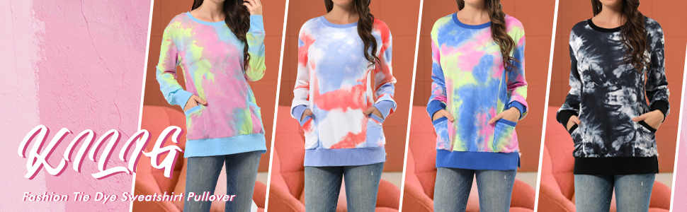 KILIG Womens Tie Dye Printed Long Sleeve Sweatshirt Casual Loose Pullover Tunic Tops Shirts with Pockets