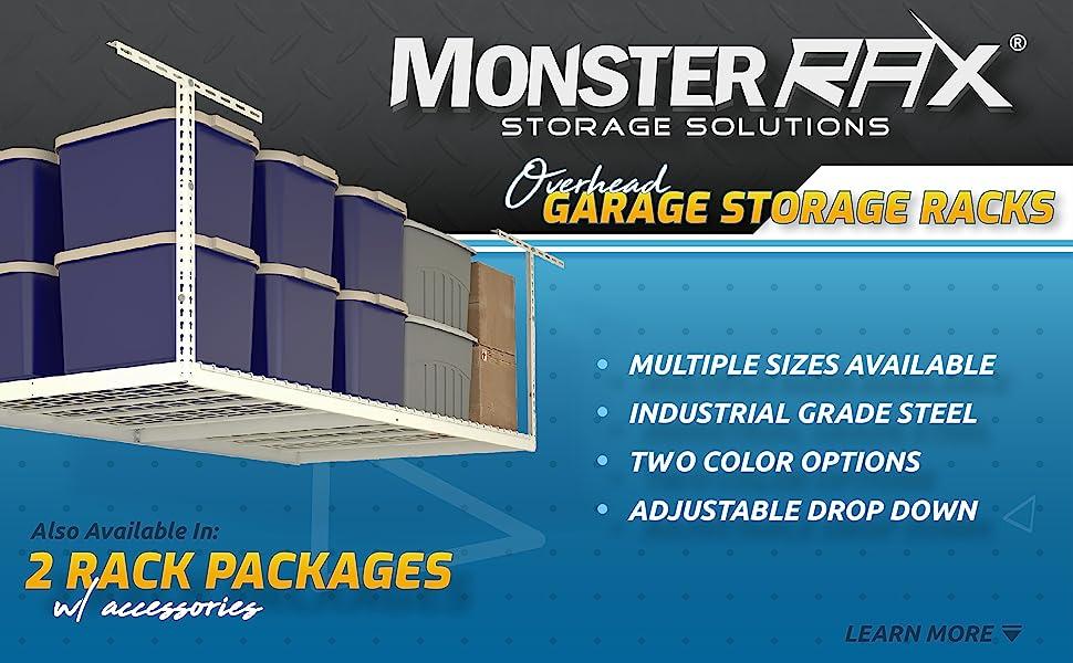 monsterrax, overhead, garage, storage, racks