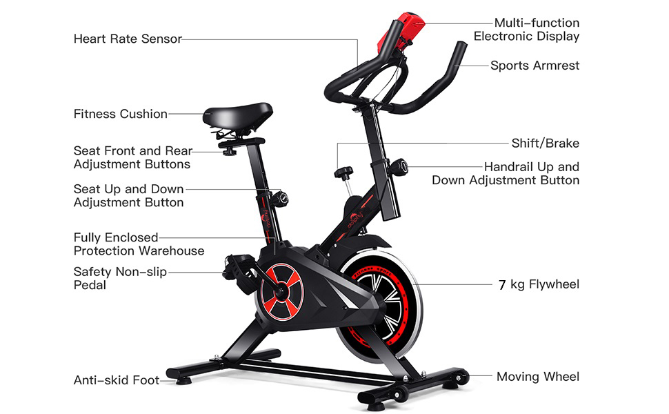 exercise bike Home Gym Fully Adjustable Foldable with Steel Wheel Spine Fitness Equipment Gym Bike
