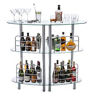 Modern Glass Home Pub Mini Bar Liquor Furniture Cart Cabinet