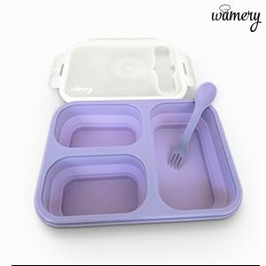 cajas de almuerzo originales Home Gems ahorra espacio Fiambrera plegable de 3 compartimentos de silicona con cubiertos apta para microondas y lavaplatos rosa sin BPA herm/ética