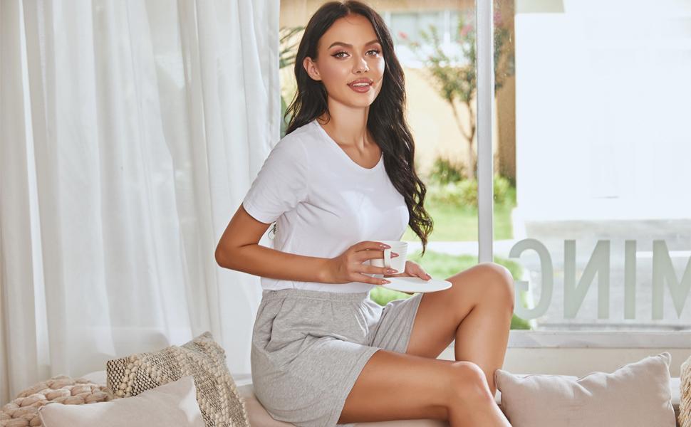 womens soft cotton sleep shorts