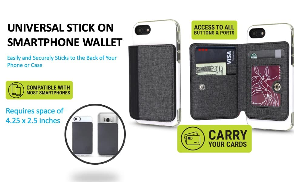 Phone wallet for back of phone