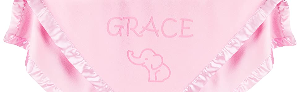 Personalized baby blanket with elephant