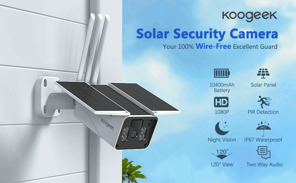 Koogeek solar security camera  【2020 Upgrated】 Wireless Outdoor Security Camera, WiFi 1080P Solar Security Camera 10400mAh Rechargeable Battery, PIR Motion Detection, Night Vision, 2-Way Audio, 3 Antenna, IP67 Waterproof, Cloud SD 489096ab aeb1 48db af5a 2f917450a4eb