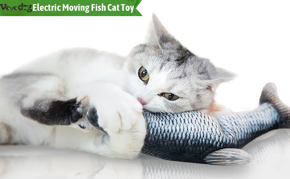 cat moving fish toy