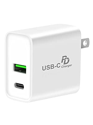 USB C Charger,PD + QC 3.0 USB Wall Charger Fast Adapter,Portable Dual Quick Charge 3.0 USB Fast Charging 18W Type C Power Delivery Block,Compatible ...
