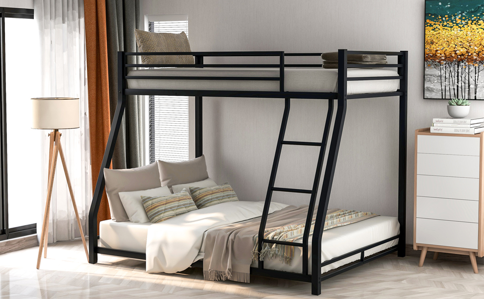 Metal Bunk Beds with Built-In Ladder