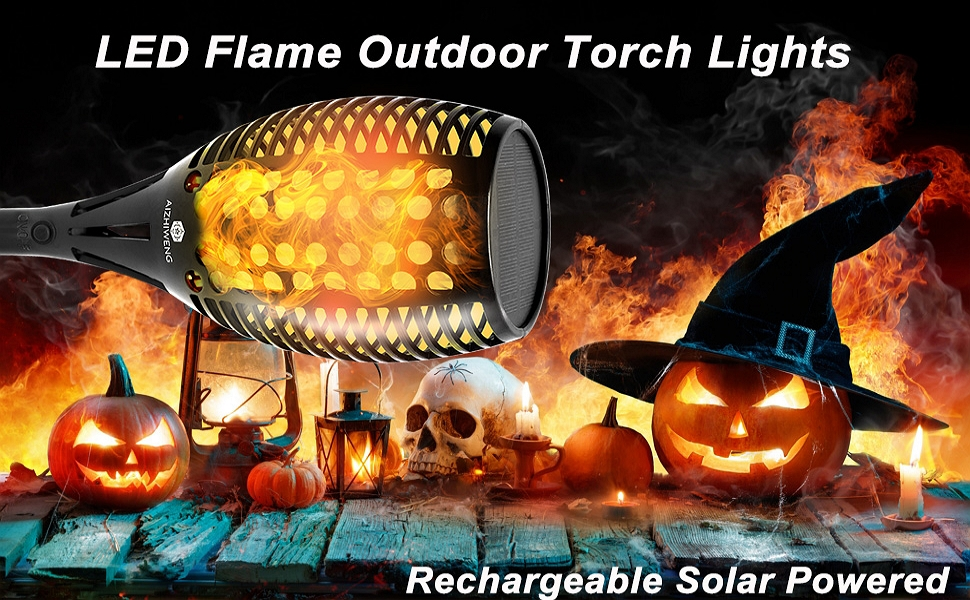 Rechargeable Solar Powered LED Flame Outdoor Torch Lights