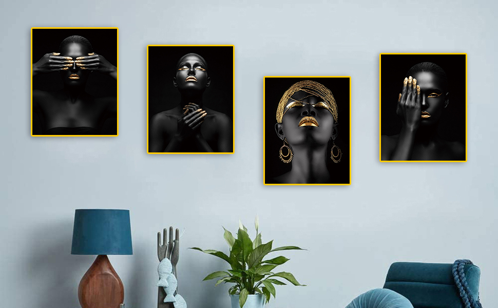 Welcome to African American Art Painting Black Women Fashion Gold Earring Necklace Black 4 Piece Set
