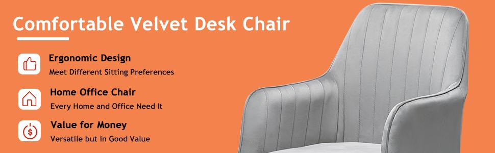 comfortable velvet desk chair