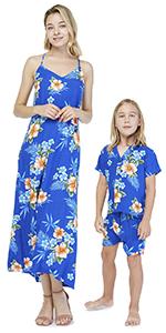 Hawaii Hangover Mother Son Matching Set Blue Hibiscus Classic Hawaiian Style