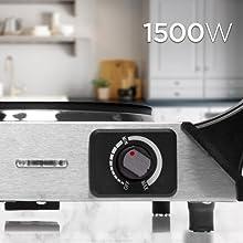 Duronic HP1SS Placa Eléctrica Portátil 1500W con diámetro de 187mm - Hornillo Eléctrico con Asas - Calientaplatos ideal para camping, caravana, campo, ...