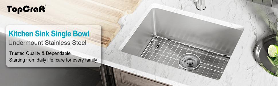 Kitchen Sink Undermount Stainless Steel Single Bowl