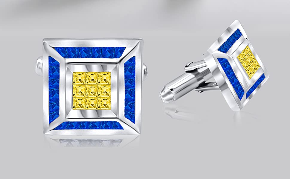 Mens Sterling Silver .925 Square Cufflinks with Princess-Cut Cubic Zirconia CZ Stones 17mm by 13mm Platinum Plated By Sterling Manufacturers