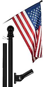 5 Ft Flagpole + 2x3 Ft Pole Sleeve Flag (Black)