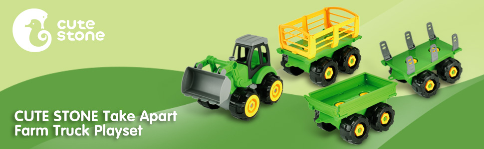 Take Apart Toys Set Farm Truck Tractor Electric Drill Farm Accessories for Kids