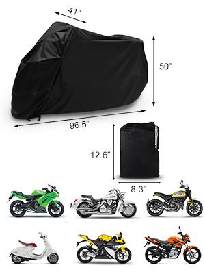 XL Funda para Motocicleta opamoo Funda para Moto Impermeable Cubierta de la Moto Cubierta Protectora UV Funda Protector de Moto Scooter al Aire Libre con el Bolso del Almacenaje Negro