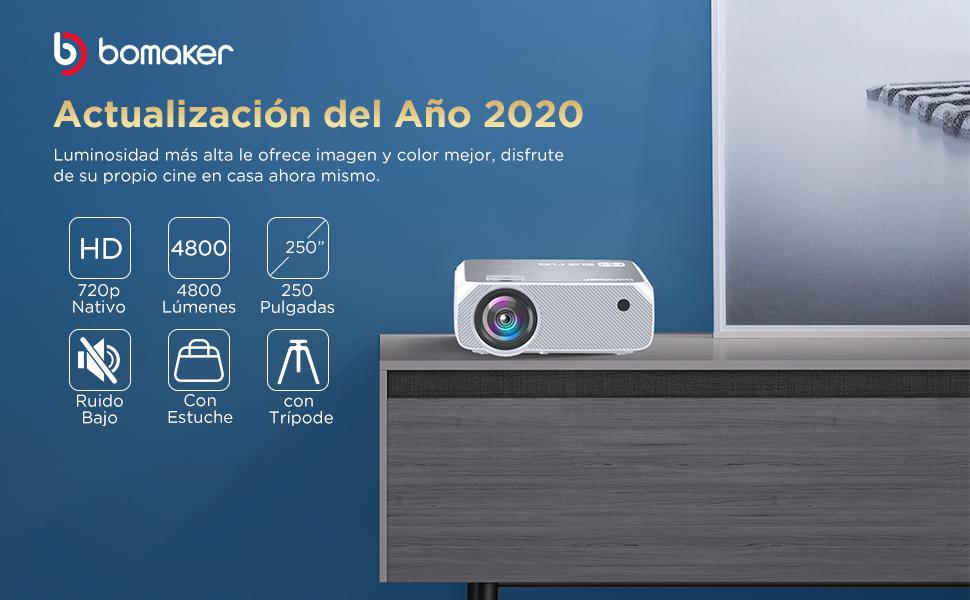 Proyector BOMAKER 4800 Lúmenes 1280 * 720p Nativo, Mini Proyector ...