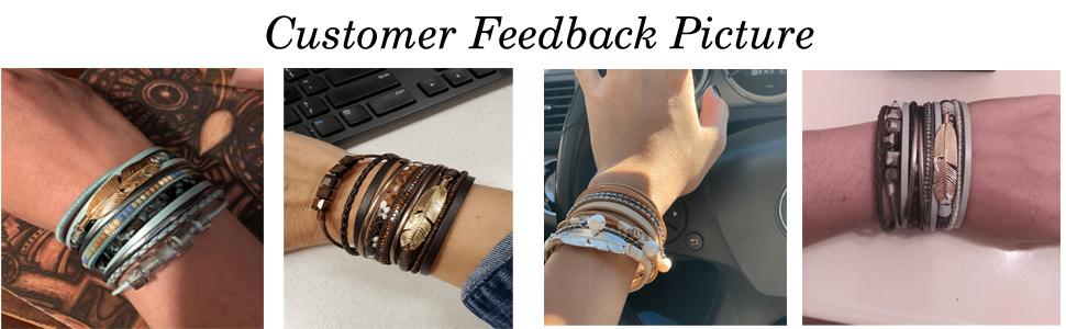 Leather Bracelet white Fuchsia patterns geometric glittery feather leather cuff custom made hand