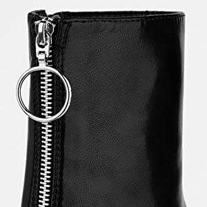 Allegra K Women's Platform Front Zip Chunky Heel Ankle Boots