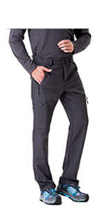 Mens Fleece Lined Insulated Pants Softshell Pants,Water and Wind-Resistant TRAILSIDE SUPPLY CO