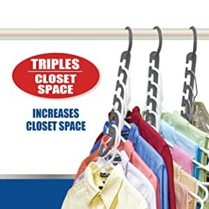 Three hangers cascading down on hanger rod to show space saving in closet. Triples Closet space.