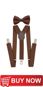 Brown Suspenders and Bow Tie Sets