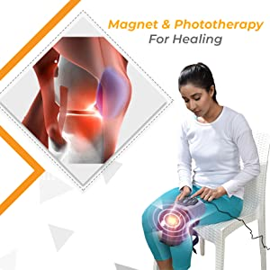 knee cap massager with magnet and phototherapy