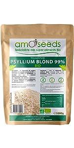 amOseeds Spécialiste des Super-Aliments Bio Psyllium Blond Téguments Bio