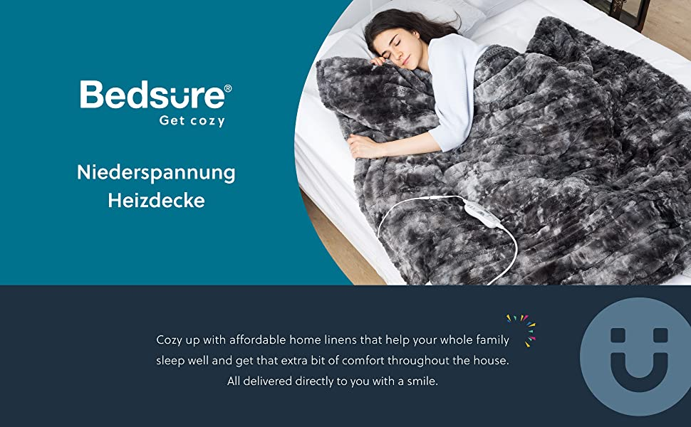 Bedsure Wärmedecken Heizdecken mit Abschaltautomatik Überhitzungsschutz